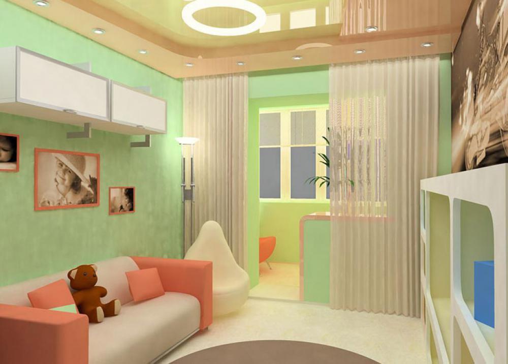 Совмещение детской комнаты с балконом фото.