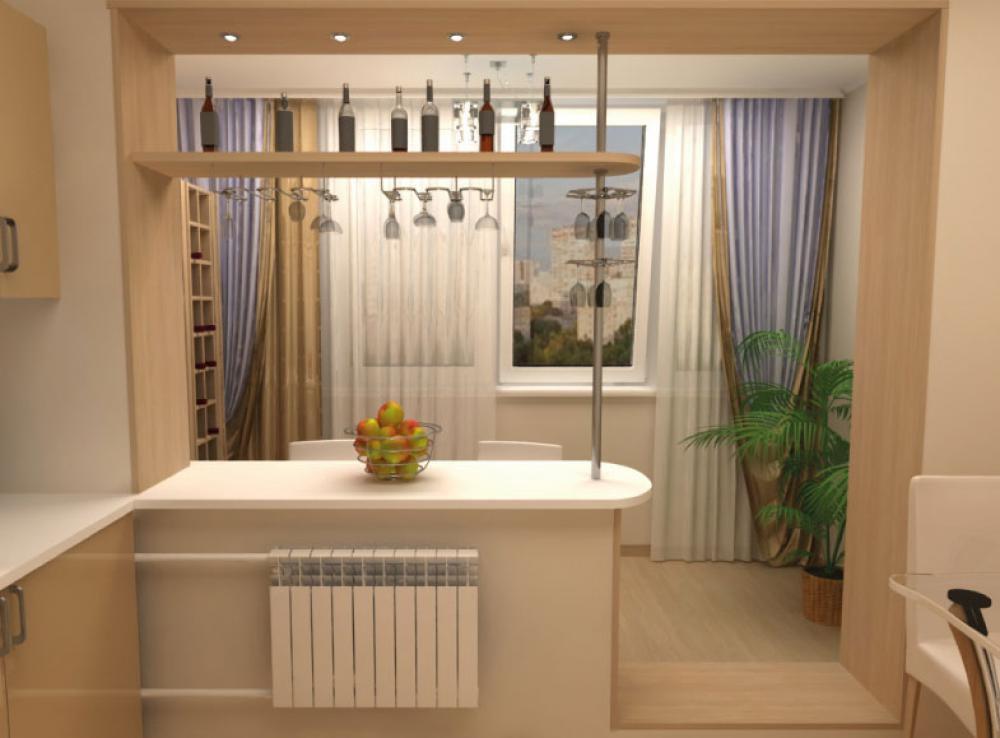 Примеры продления балконов и лоджий на кухню.