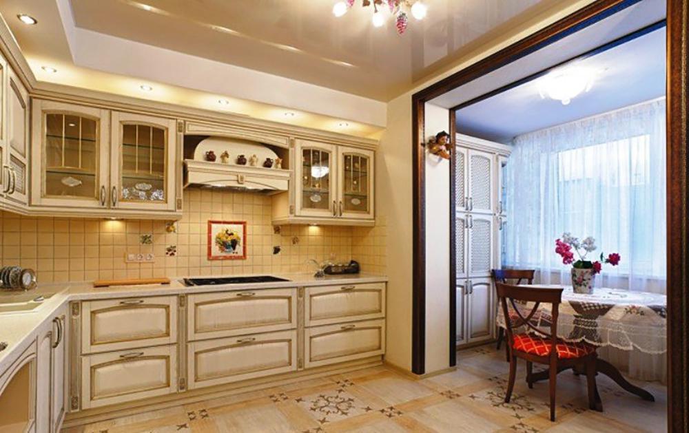 Дизайн угловой кухни в классическом стиле дизайн кухни - фот.