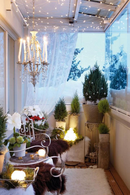 Новогоднее оформление балкона / интерьер / идеи обустройства.