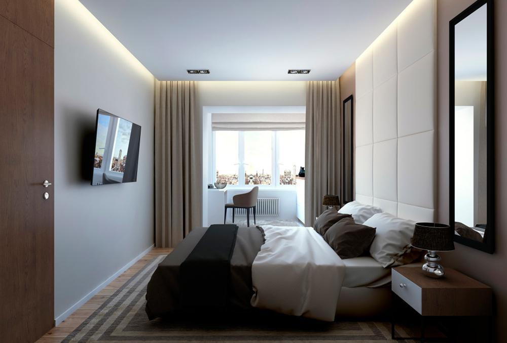 Спальня объединенная с лоджией в копэ.