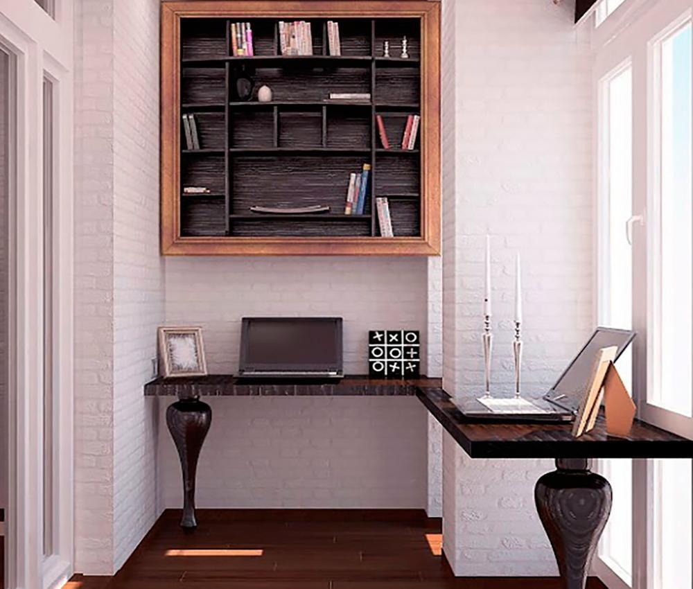 Кабинет на балконе дизайн фото.