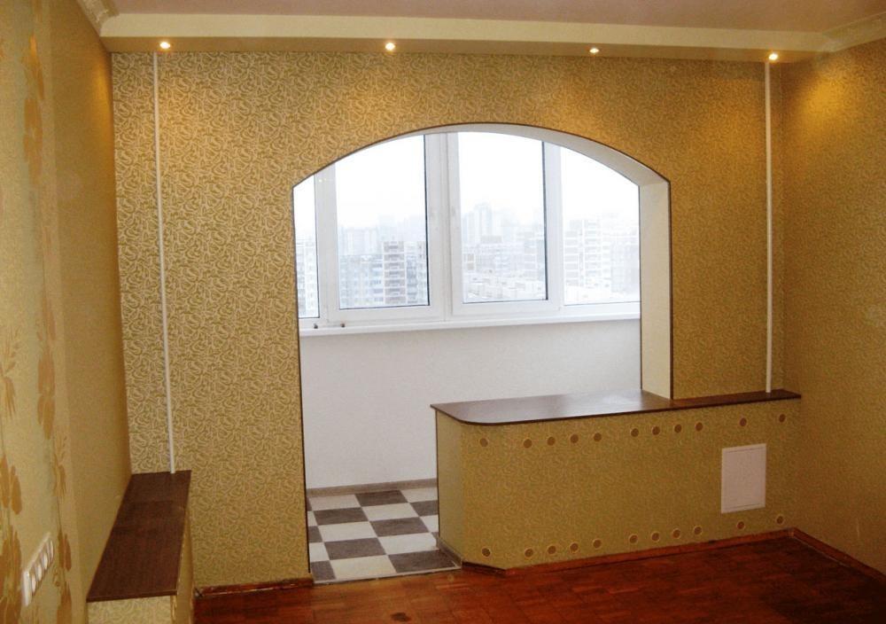 Как сделать кухню с аркой на балкон.