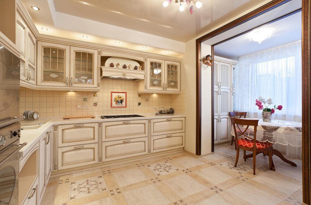 Полное присоединение балкона к кухне.